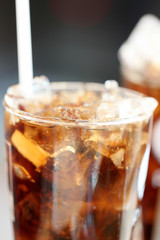 Ice cola drinks in glass.