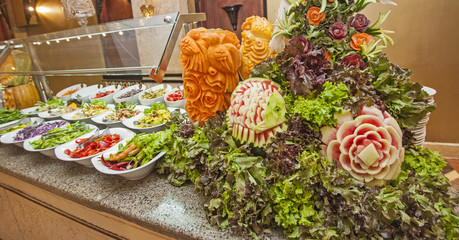 Salad selection at hotel buffet