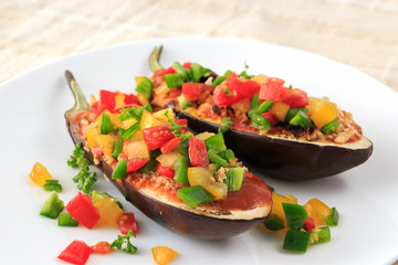 Stuffed eggplant food for vegetarian