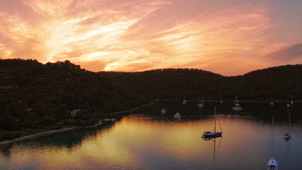 Sunset panorama at village Polace on island Mljet, aerial