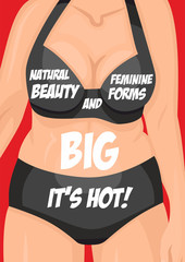 Poster fat female body in black lingerie