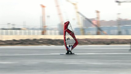 winter windsurfing  high speed