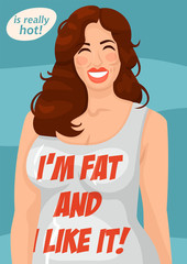Poster fat girl in a vest