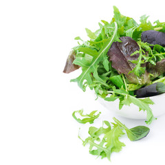 fresh green salad in a bowl, close-up, isolated