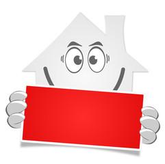Haus Schild rot