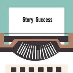 typewriter with share your story success text