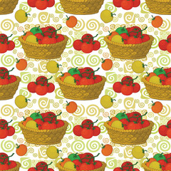 Seamless pattern, baskets and tomatoes