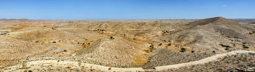 Panoramic view of Sahara desert in southern Tunisia
