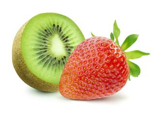 Half of kiwi and strawberry isolated on white background