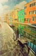 Burano island. Venice. Italy. Picture in artistic retro style.
