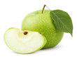 Ripe green apple with leaf and slice on white with clipping path
