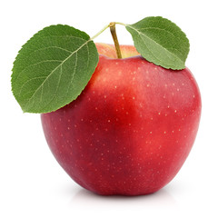 Ripe red apple with leaves isolated on white with clipping path