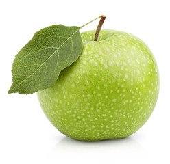 Ripe green apple with leaf isolated on white with clipping path
