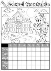 Coloring book school timetable 6