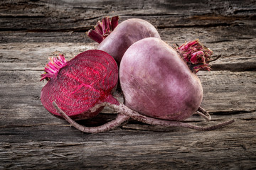Fresh organic beetroot on wooden table, horizontal
