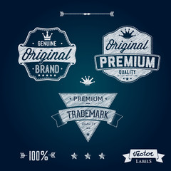 Premium Quality Brand Labels chalk pencil sketches style.
