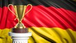 canvas print picture - Golden trophy with Germany flag in background