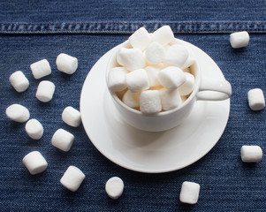 white marshmallows in a coffee cup