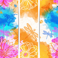 Seamless abstract wallpaper of watercolors flowers