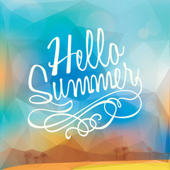 Abstract Summer holiday polygon poster background