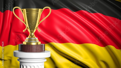 canvas print picture Golden trophy with Germany flag in background