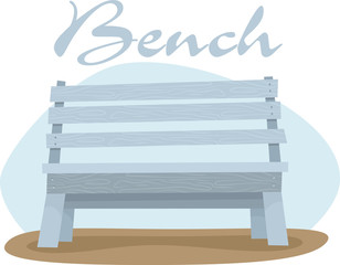 vector blue wooden bench
