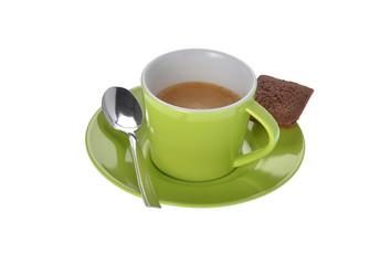 Espresso Tasse mit Keks und Löffel auf weiss Hintergrund