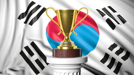 Golden trophy with South Korean flag in background