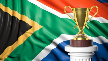 Golden trophy with South African flag in background