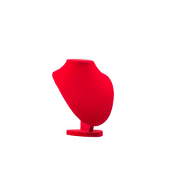 Red Necklace Display Stand For Jewelry on White Background