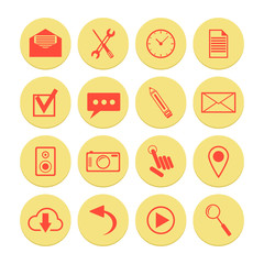 set of yellow icons for web and mobile applications