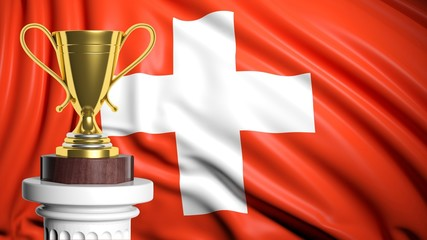 Golden trophy with Swiss flag in background
