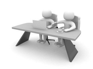3d person - people and a laptop at a office. Business partners
