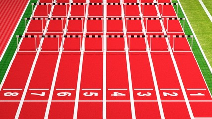 Rows of black and white hurdles on running track