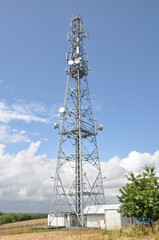 Telecommunication tower with cell phone antennas