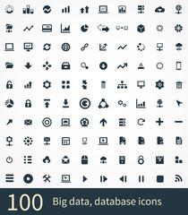100 big data, database icons