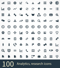 100 analytics, research icons
