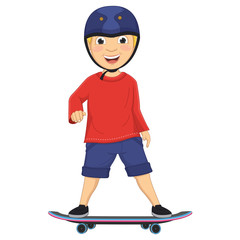 Vector Illustration Of A Boy Skating