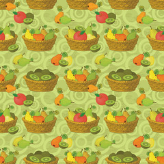 Seamless pattern, baskets and fruits