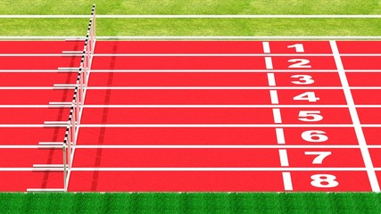 Row of hurdles on running track top side view