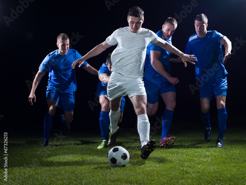 canvas print picture soccer players duel