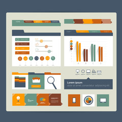 Web site. Flat design elements. Vector.