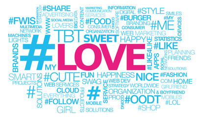 Love hashtag tweet words text tag cloud illustration