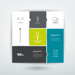 Square template diagram. Flat vector tab.