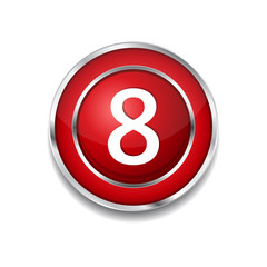 8 Number Circular Vector Red Web Icon Button