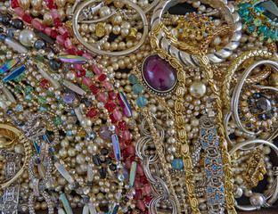 a feast of shiny jewelry