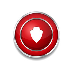 Shield Circular Vector Red Web Icon Button