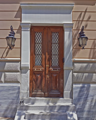 house entrance with solid wood door, Athens Greece
