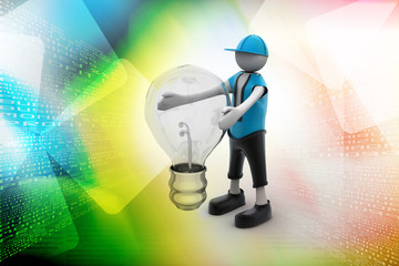 3d man holding a light bulb while thinking - Idea concept