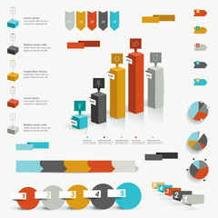 Collection of colorful infographic elements.